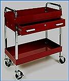 Automotive Shelf Utility Cart with Locking Drawer Heavy Duty Rolling Storage Steel Frame Roller Glides - House Deals