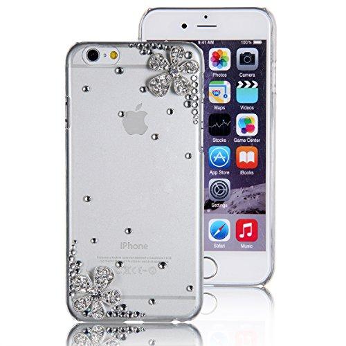 JewelryWe custodia 3D Bling strass fiore Back conchiglia sintetica Case Cover Skin for Iphone 6