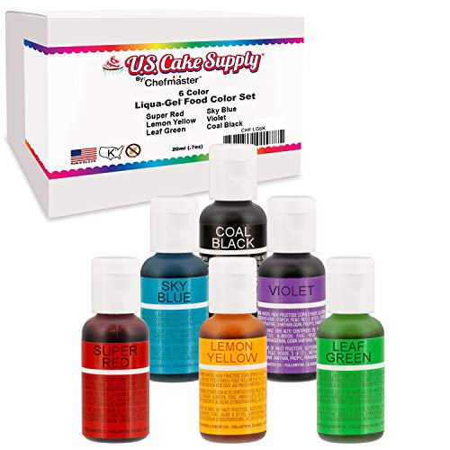 6 Color Cake Food Coloring Liqua-Gel Decorating Baking Primary Colors Set - U.S. Cake Supply .75 fl. Oz. (20ml) Bottles Primary Popular Colors ()