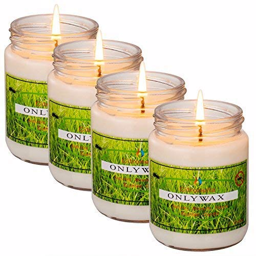 Uwax Scented Candles, Pure Soy Wax Candle with Citronella, Natural Mosquito Repels, Outdoor and Indoor, 4-Pack Gift Set