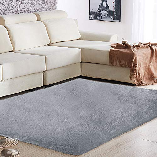 Haihuic Alfombra Super Suave 160 x 120 cm Estera Sedosa del Dormitorio Alfombra de Piso de Felpa Antideslizante para la Sala...