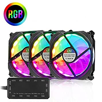 LeaningTech Lote de 3 Bombillas LED RGB de Alto Flujo de Aire de 120 mm LTC LitSun con Velocidad Regulable 40.000 Horas de Trabajo: Amazon.es: Informática