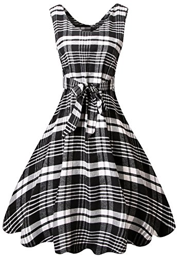 Plaid Spring Dress - MIEDEON Womens Casual Plaid Stripe Mini Swing Shirt Dress (S, Black-White)
