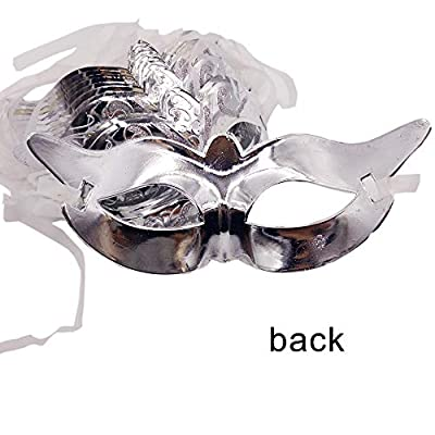 Arlai Pack of 12 Mardi Gras Masquerade Party Retro Masks Costume Party Acccessory (Silver): Clothing
