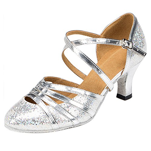 Haodasi Women Lady Ballroom Latin Dance Satin Shoes Comfort Cha-Cha Tango Dancing Shoes j7L4dU