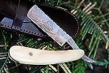 NS 1 Sale DKC-538 White Prince Barber Razor Damascus Steel 6'' Long 2.75'' Blade 2.5 oz White Bone