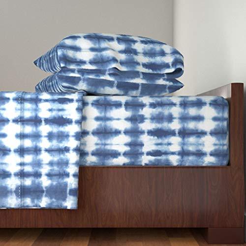 - Roostery Shibori Printed 4pc Sheet Set Indigo Tie Dyed Home Decor Quilt Hand Dyed Shibori Tie Dye Indigo Home Decor by Theplayfulcrow 100% Cotton Sateen King Sheet Set
