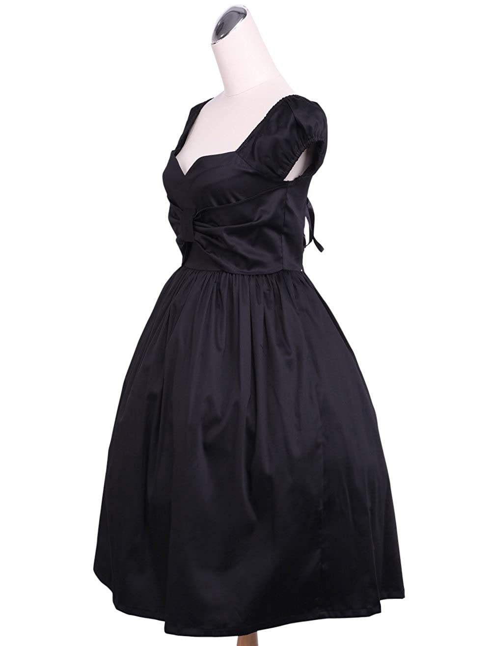 ac941ea9a4 Antaina Black Cotton Low-Cut Sexy Vintage Gothic Lolita Cosplay Tube Dress  at Amazon Women s Clothing store