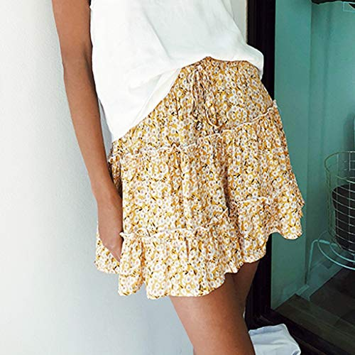TWGONE Ruffled Mini Skirt For Women Summer Bohe High Waist Floral Print Beach Short Skirt (Small,Gold) by TWGONE (Image #1)