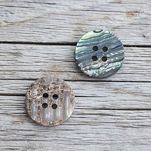 【丸型(定番)】メキシコ貝ボタン#00017 4穴20mm 2個セット