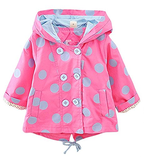 Baby Kid Little Girls Polka Dot Hoodie Windproof Double Breasted Jacket Coat Outerwear 12-18 Months