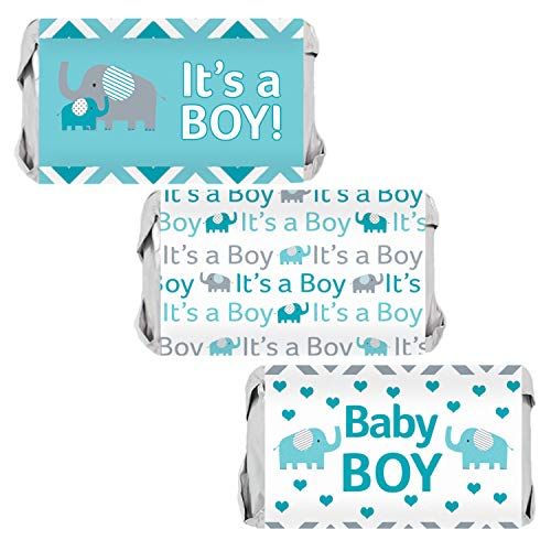 Boy Candy - Teal Blue and Gray Elephant Boy Baby Shower Mini Candy Bar Wrappers | 54 Stickers