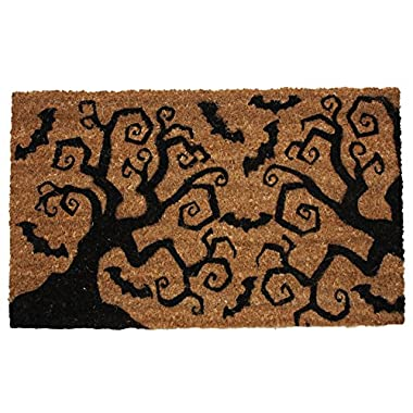 J & M Home Fashions Halloween Bats & Trees Vinyl Back Coco Doormat, 18 by 30
