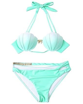 Damen Farbverlauf Shell Bikini Sets Gepolstert Bh Bademode