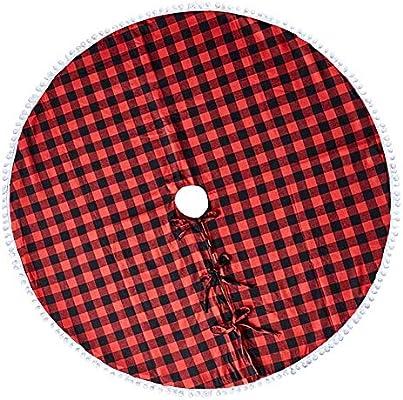 WFLJ 122cm Tela Escocesa Roja y Negra de Búfalo Faldas para el ...