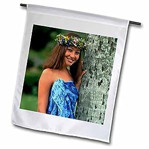 Danita Delimont - Polynesian Culture - Polynesian woman, Portrait - OC10 DPB0029 - Douglas Peebles - 18 x 27 inch Garden Flag (fl_84948_2)