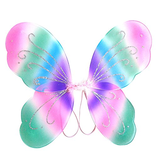 [EFINNY Girl's Colorful Fairy Princess Butterfly Magic Wings Gillter Birthday Party Halloween Cosplay Costume Accessory] (Rave Fairy Costume)