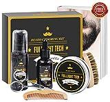 Beard Kit for Men Grooming & Care W/Beard Wash/Shampoo,Unscented Beard Growth Oil,Beard Balm Leave-in Conditioner,Beard Comb,Beard Brush,Beard Scissor 100% Natural & Organic