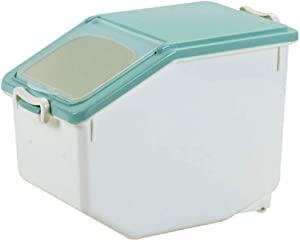 WOLFBUSH 10KG/22lb Rice Storage Container Airtight Food Container with Measuring Cup Sealed Cereal Grain Organizer with Wheels for Kitchen(About 50 Cup)