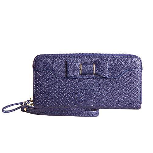 Price comparison product image MAVERCE Wallets for Women Zipper RIDF Bifold Genuine Leather Women Wallet Multi Card Case Organizer Lady Clutch Long Purse