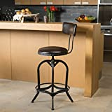 Samthorn Metal Industrial Barstool w/ Backrest (Brown Recast Leather)