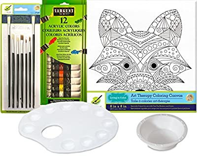 Art Canvas Fox Animal Design Paint set with 12 Color Acrylic Paints / Brush Set & Palette Water Cup Color your own picture art Therapy kit