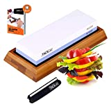 Premium Knife Sharpening Stone, 1000/6000 Grits Double-Sided Whetstone with Non-Slip Bamboo + Rubber
