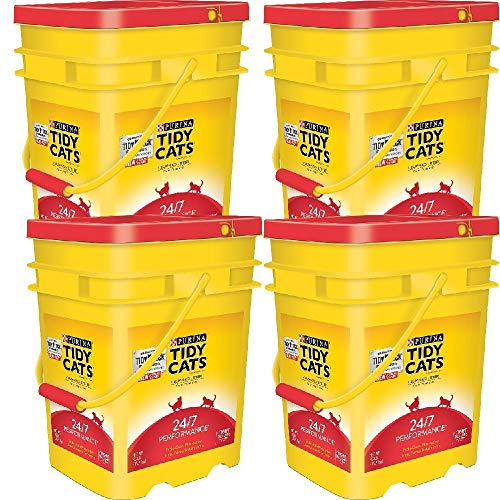 Purina Tidy Cats Clumping Litter 24/7 Performance for Multiple Cats 35 lb. Pail (35 lb - 4 pail)