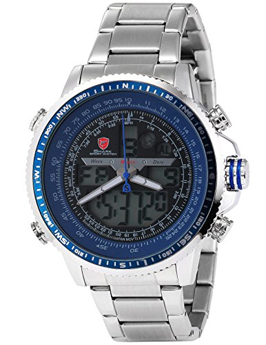 Winghead Shark Men's SH326 Digital Analog Quartz Day Date Alarm Stainless steel Wrist Watch