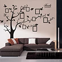 Wall Decals Art Stickers Waterproof, Huge Size Family Photo Frame, Tree and Birds Pattern, for Home Kitchen Bedroom Living Room Decor
