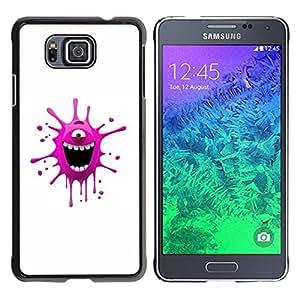 TopCaseStore / la caja del caucho duro de la cubierta de protección de la piel - Funny Pink Monster - Samsung GALAXY ALPHA G850