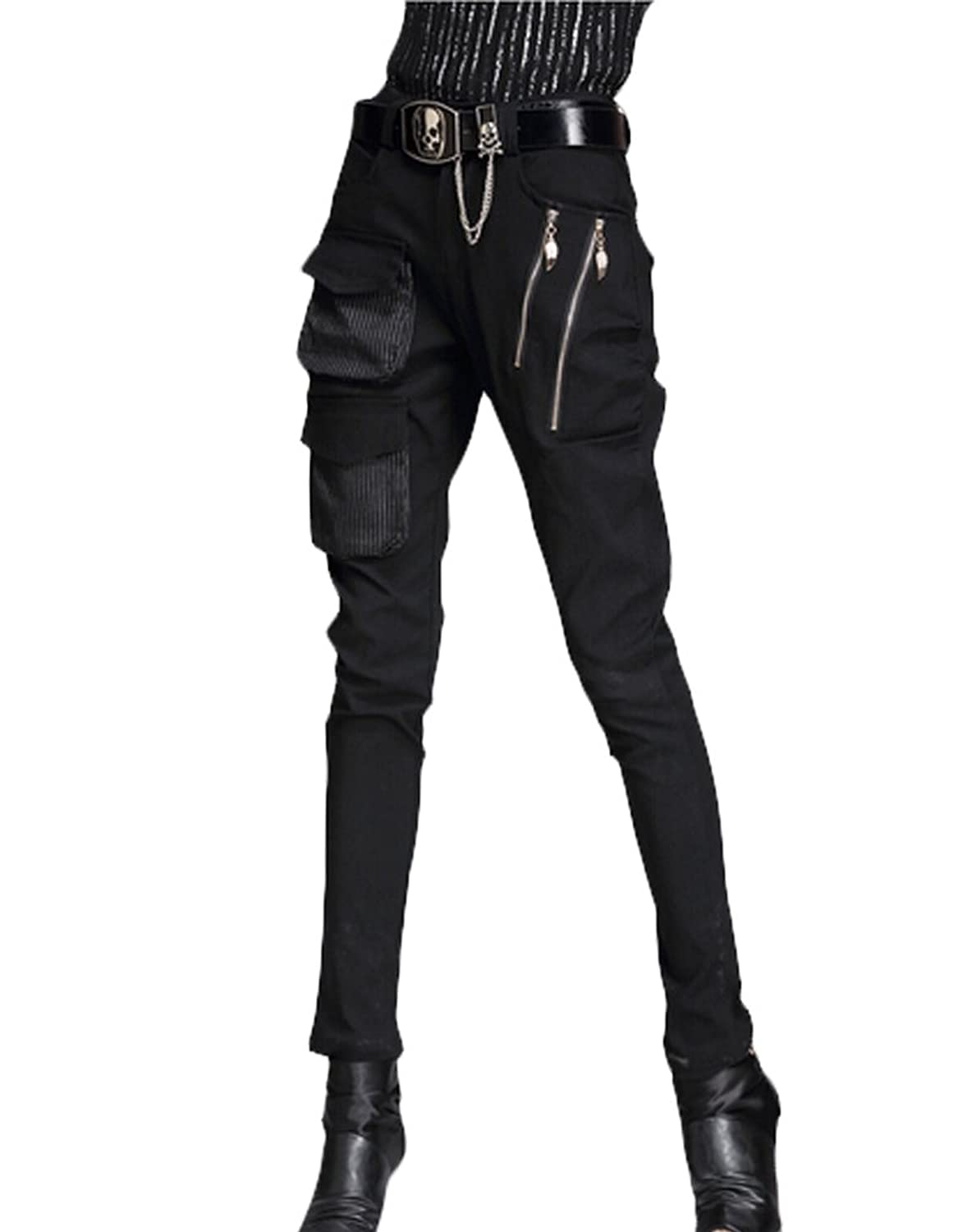 Minibee Pernalized Punk Street Style Harem Pants Patchwork Zipper Pockets