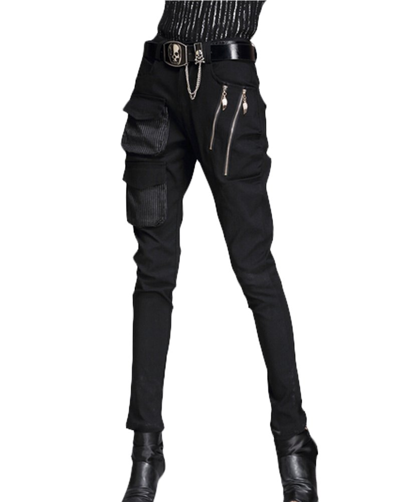 Minibee Pernalized Punk Street Style Harem Pants Patchwork Zipper Pockets (M, black)