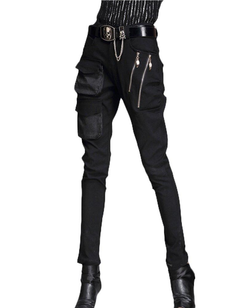 Minibee Pernalized Punk Street Style Harem Pants Patchwork Zipper Pockets (M, black) by Minibee