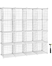 SONGMICS 16 Cube Metal Wire Storage Organiser, DIY Closet Cabinet and Modular Shelving Grids, Wire Mesh Shelves and Rack, White LPI44W