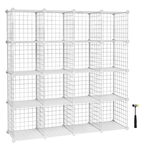 Mesh Shelving (SONGMICS Metal Wire Storage Cube Organizer, Modular Shoe Rack, DIY Closet Cabinet and Shelving Grids, Bookcase, Includes Rubber Mallet, White, 16-Cube ULPI44W)
