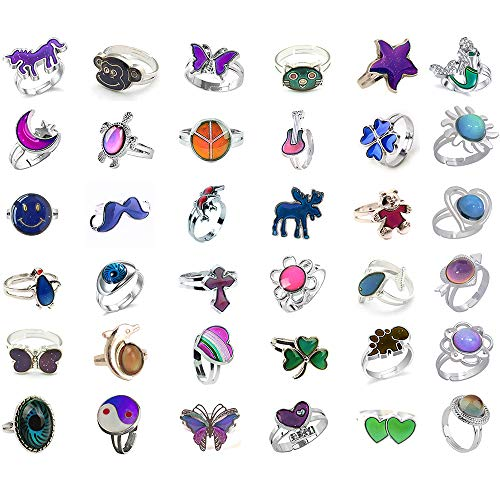 Mood Rings Color - Jiali Q 30pcs Mixed Mood Ring Change Color Ring Adjustable Size Temperature Finger Ring (30pcs)