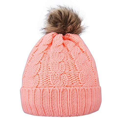 GRAMONI Men / Women's Knit Beanie Cap Winter warm Hand Knit Faux Fur Pompoms Beanie Hat (peach (Hand Knit Beanie Hat)