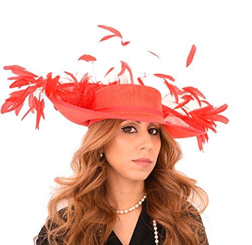 Kentucky Ascot Glamour Pequeño Por Para Gorro Boda Rojo Cabezas Girlz Derby Cressida Sombreros wCX04Cq