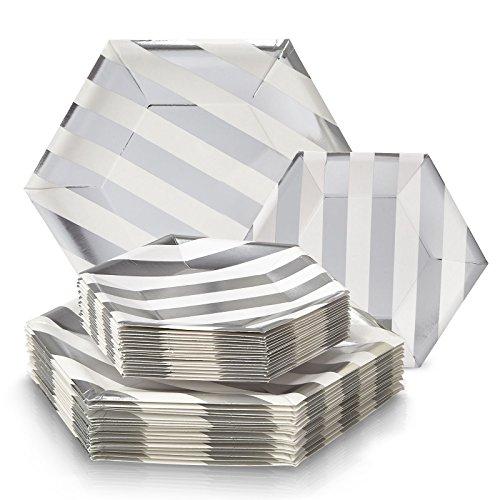 PARTY DISPOSABLE 36 PC DINNERWARE SET | 18 Dinner Plates | 18 Side Plates | Heavy Duty Paper Plates | Hexagon Design | for Upscale Wedding and Dining (Stripe Collection – White/Silver) by Silver Spoons
