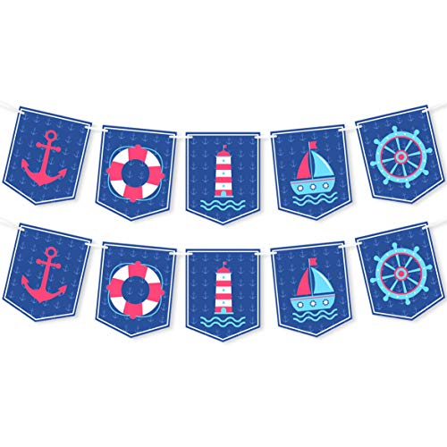 Nautical Party Banner - Nautical Themed Decorations Supplies for Baby Shower, Birthday Party, Wedding, Bridal Shower, Nursery - 2 Pack]()