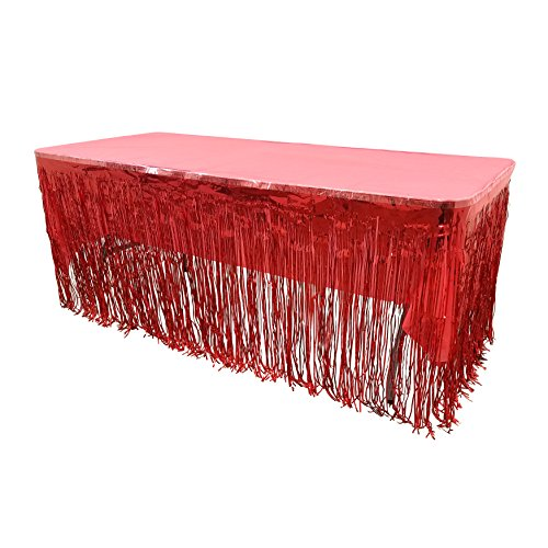 New! Set Of Red Metallic Foil Fringe Table Skirt 30