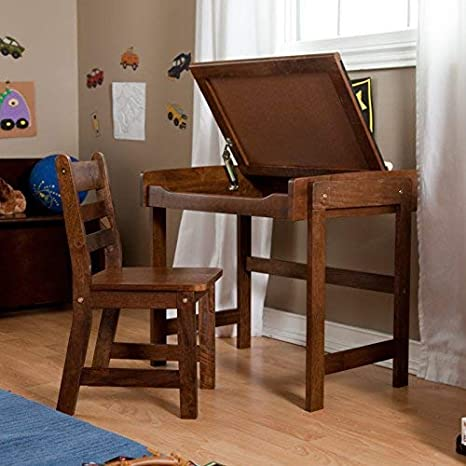 Antique White Lipper International Childs Desk with Chalkboard Top /& Chair