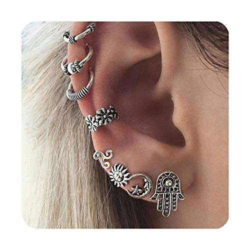 cyntan Vintage Bohemian Sun Moon Hand of Fatima Charm Ear Studs Carved Ear Cuffs Earring Set 8 Pcs/Set