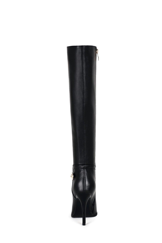 ffb391229 Nueve Siete Genuino Cuero de las mujeres Puntera puntiaguda Heel Side Zip  Hecho a mano Rodilla elegante y elegante Botas altas Negro