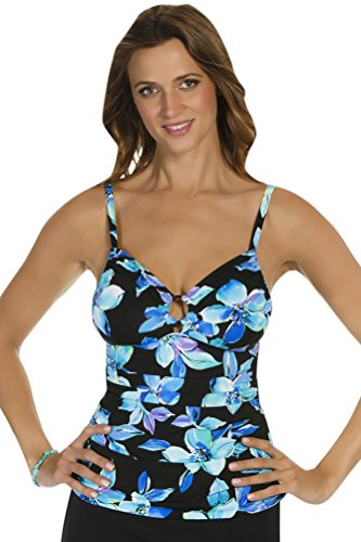 Caribbean Joe Martinique Ring Front Tankini Top Size 12 Blue