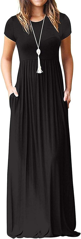 DEARCASE Women Short Sleeve Loose Plain Maxi Dresses Casual Long Dresses with Pockets