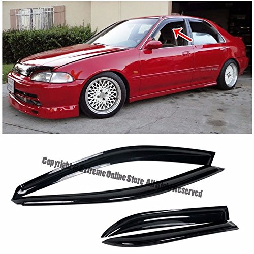 Honda Civic 4dr Wagon (For 92-95 Honda Civic Sedan 4Dr Smoke Tinted JDM Tape-On Side Window Visors Rain Guard Deflectors 1992 1993 1994 1995 92 93 94 95 4D DX LX EX)