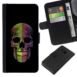 For HTC One M7 Case , Skull Death Metal Rock Black - la tarjeta de Crédito Slots PU Funda de cuero Monedero caso cubierta de piel