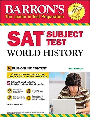 Barrons SAT Subject Test World History with Online Tests: with Bonus Online Tests: Amazon.es: William Melega: Libros en idiomas extranjeros